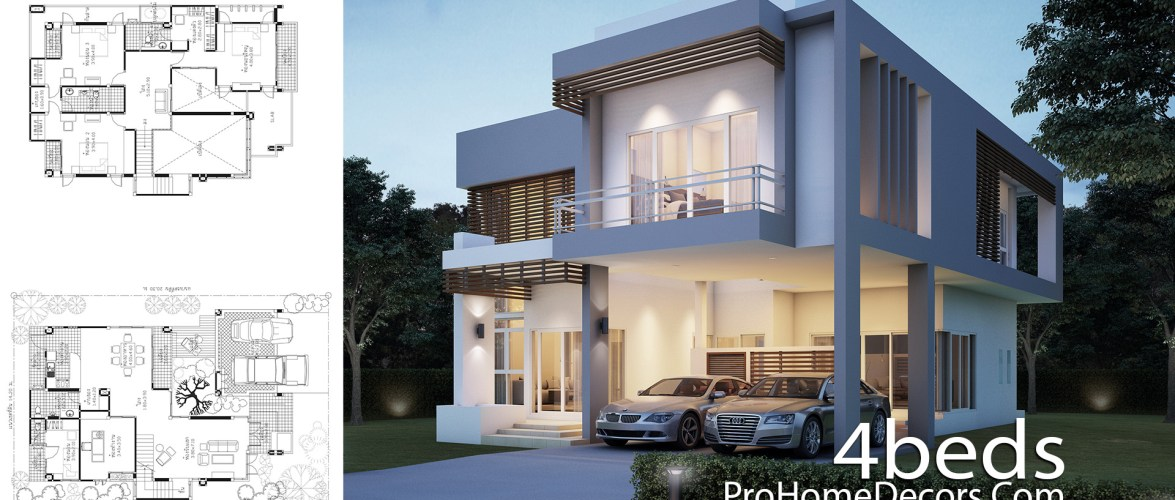 House Plan Plot 14×20 Meter with 4 Bedrooms
