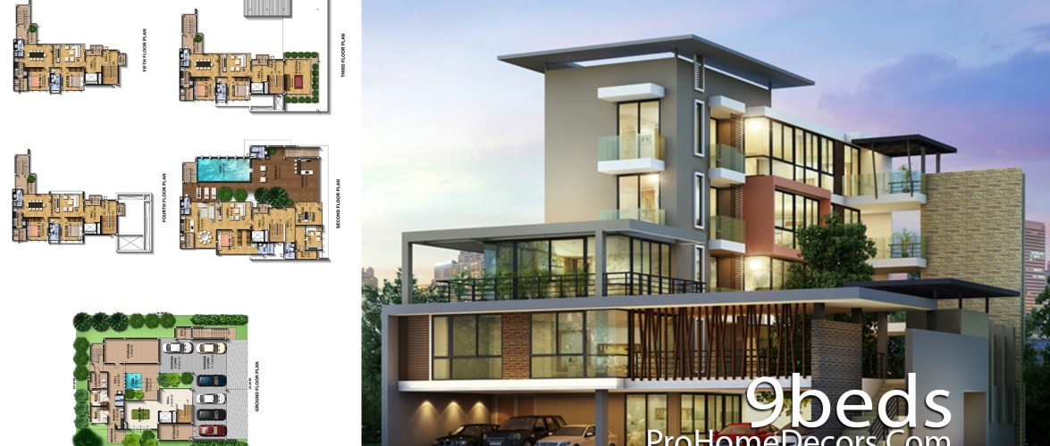 House Plan Plot 24×30 Meter with 9 Bedrooms