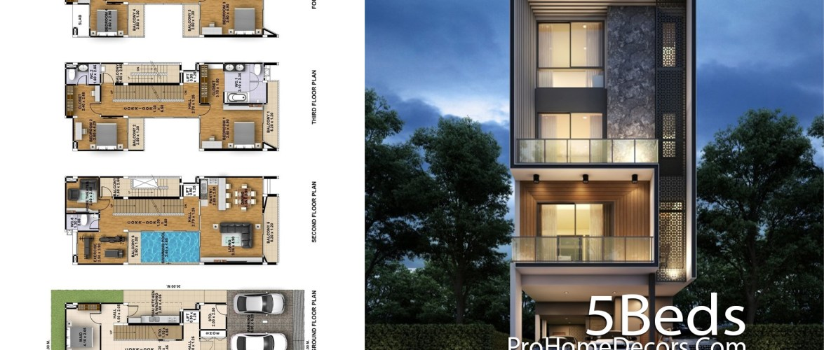 Narrow House Plot 9×20 Meter with 5 Bedrooms