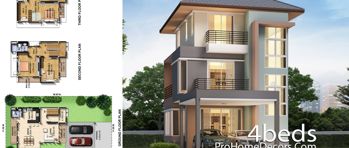 Small House Design 7.5×14 Meter with 3 Bedrooms