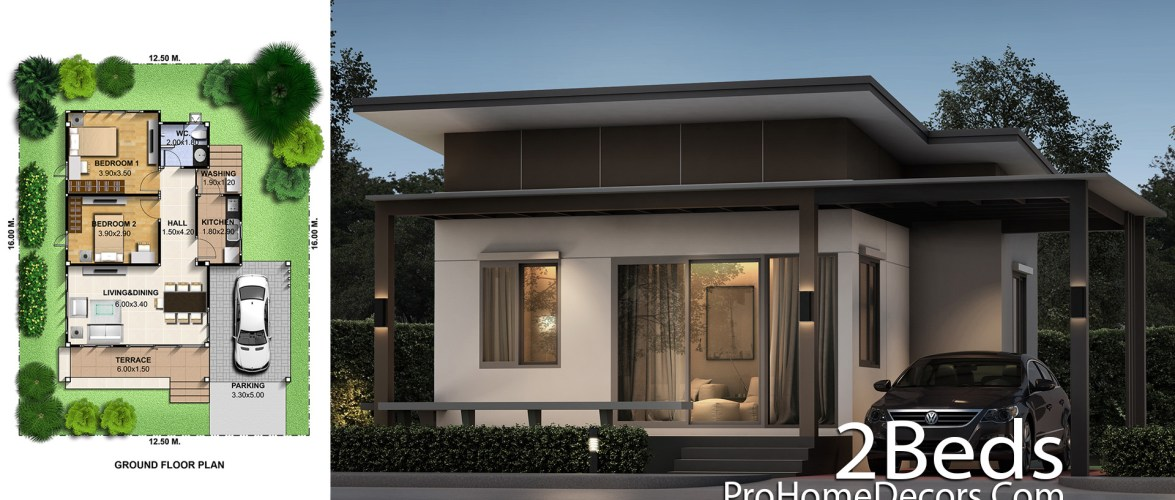 Small House Plot 12×15 Meter with 2 Bedrooms