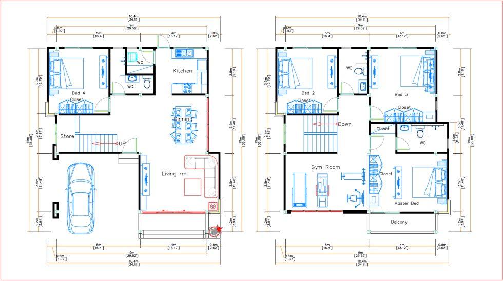 House Plans 9x11 Meter 30x36 Feet 4 Beds Pro Home Decorz