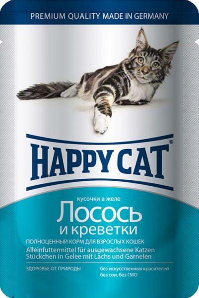 Паучи Happy Cat для кошек с лососем и креветками