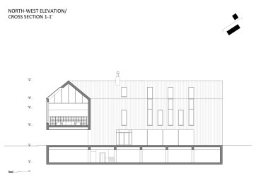 North-West elevation/Cross section 1-1'