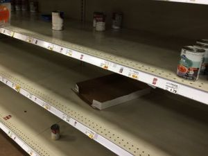 March 16, 2020 - Empty shelves at Kroger