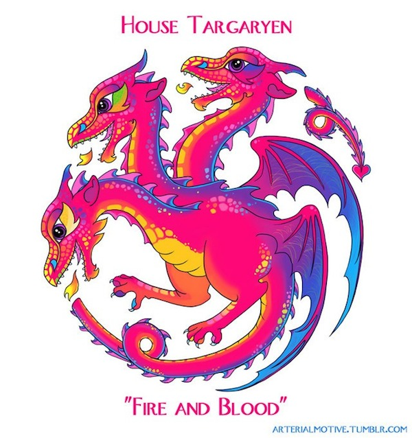 Lisa Frank Game of Thrones Sigils Targaryen