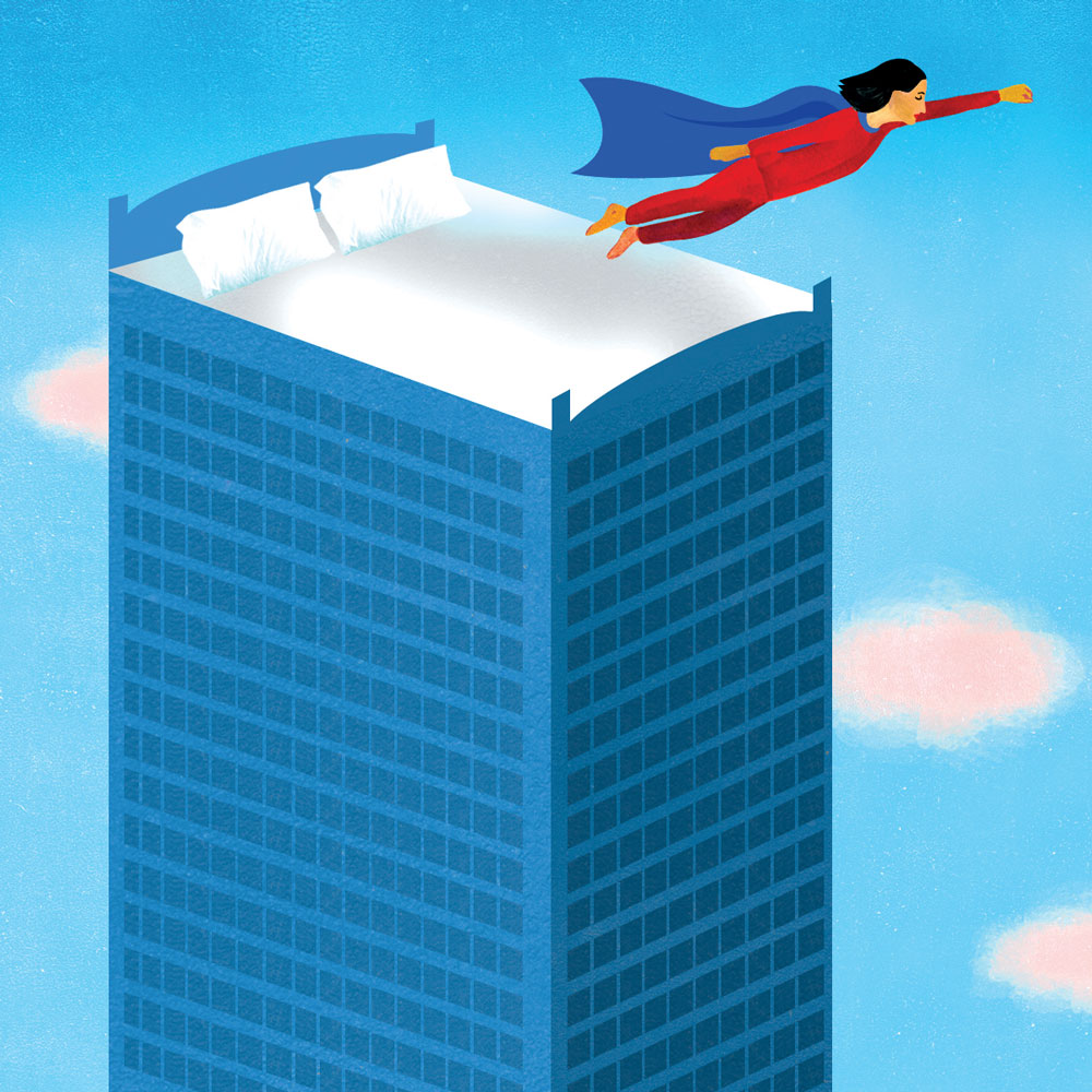 Ilustración de una cama en la cima de un rascacielos con una mujer vestida con pijama y una capa, saltando y volando.