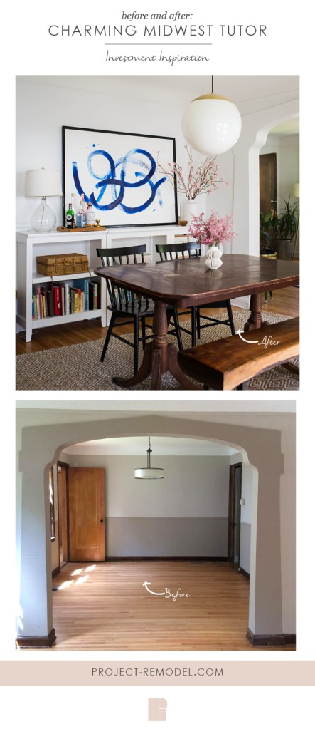 before and after photo of dining room showcasing a tour of the charming midwest tutor home