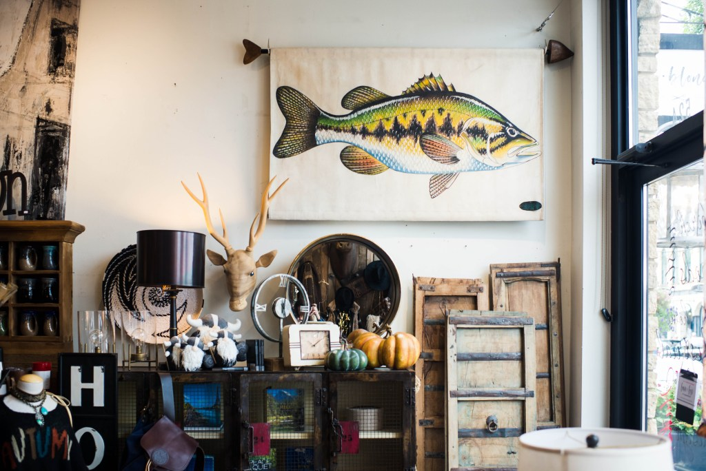 A wall vignette located in the store displaying a large fish artwork and deer head on the wall.