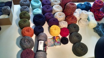 A mix of stuff I've bought, fiber I've been given for projects and fiber I've made (t-shirt yarn)