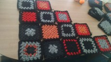 Getting ready to single crochet them together on x-mas morning.