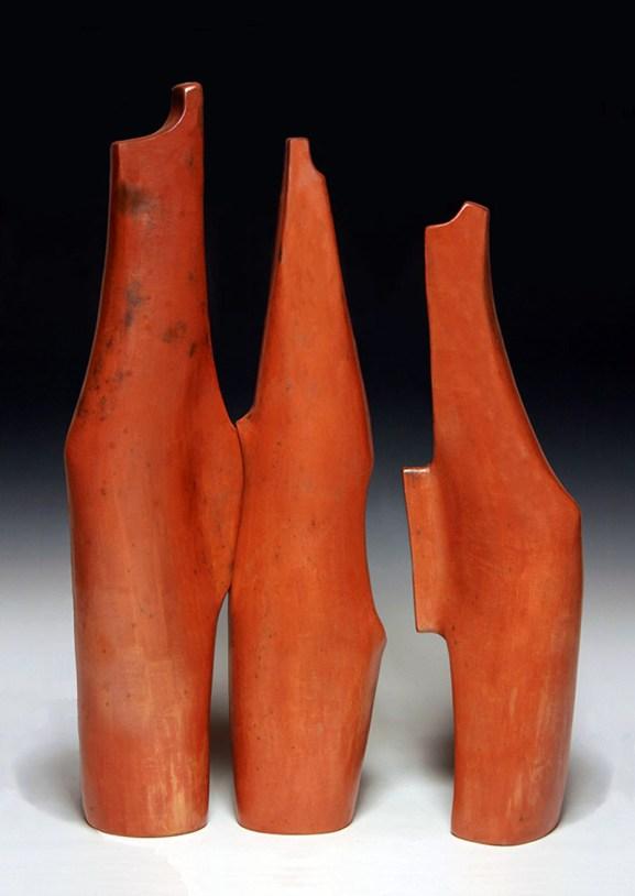 "Alexandra Jelleberg, ""Monument Valler"" 2013, salt-fumed terra sigillata on stoneware, 19.5 x 12 x 4""."