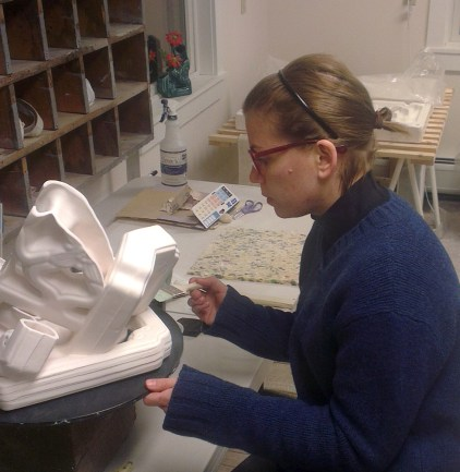 Past resident artist Elenor Wilson at work in Project Art ceramic studio.