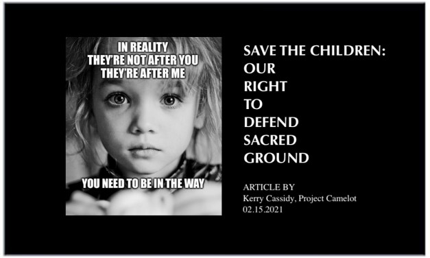 SAVE THE CHILDREN:  OUR RIGHT TO DEFEND SACRED GROUND