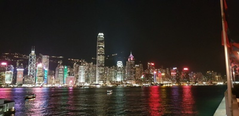 Hong Kong's skyline is unbeatable on a clear day here taken at night looking at Hong Kong island from the Kowloon Peninsula.