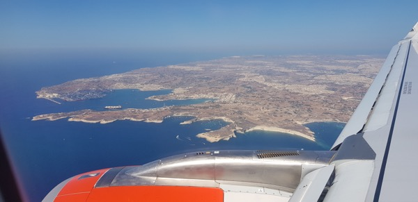 Container terminal at Malta seen from above as coming in for a landing.