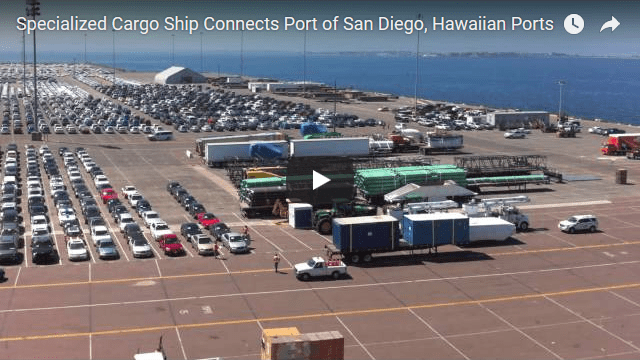 Specialized cargo ship connects port of san diego and hawaiian ports