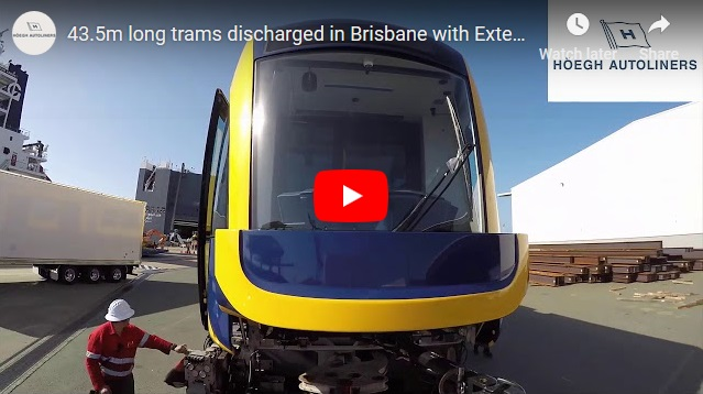 43.5m Long Trams Discharged in Brisbane with Extended Rolltrailer Concept