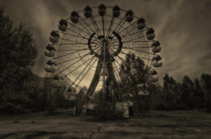 haunted theme park, scream park, horror, ferris wheel,