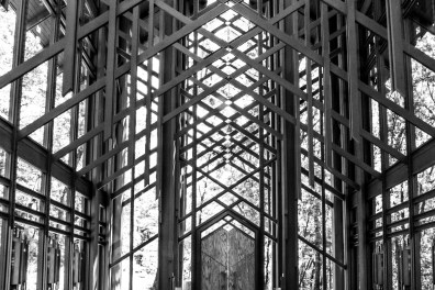 Light streams in through the windows of Thorncrown Chapel in Eureka Springs, AR. NotSoSAHM