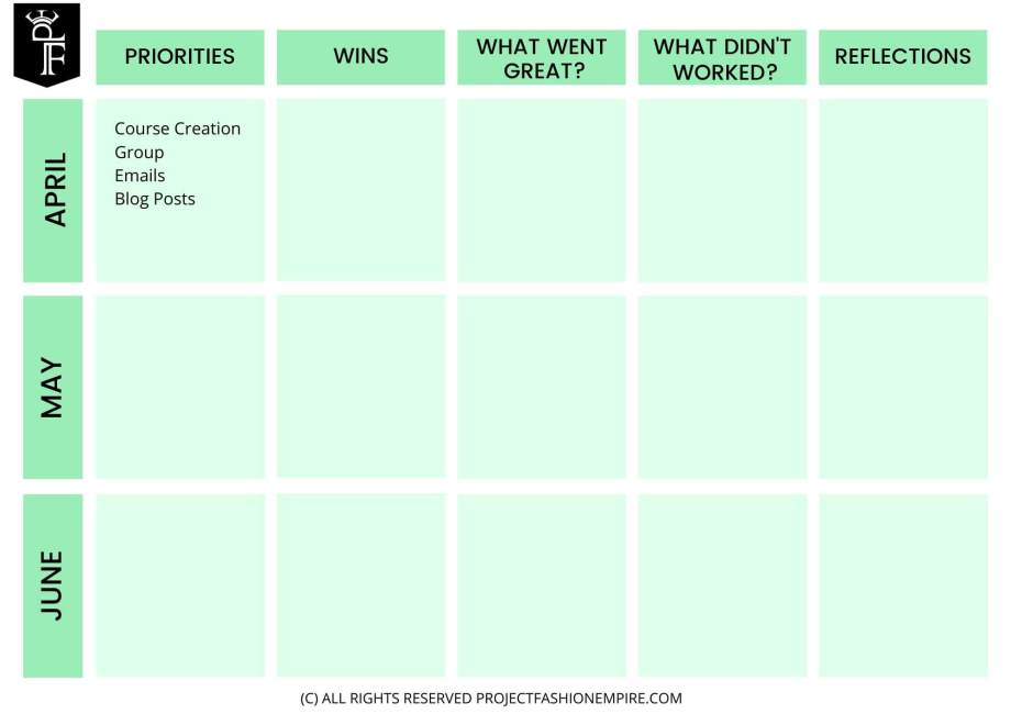 Fashion marketing planner to help you plan your fashion business for the next 3 months