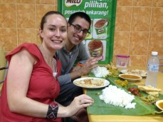 Delicious authentic Indian food dinner on banana leaves