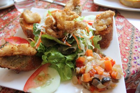 Salted fish tartines with tapinade