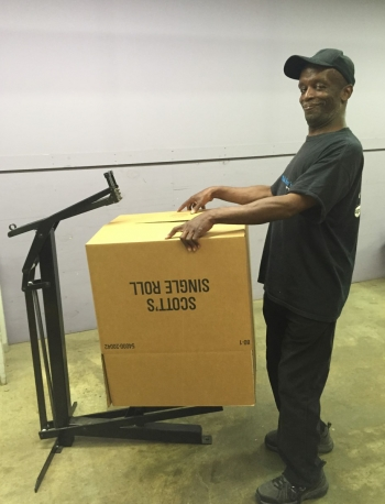 Certified worker with large box stapler
