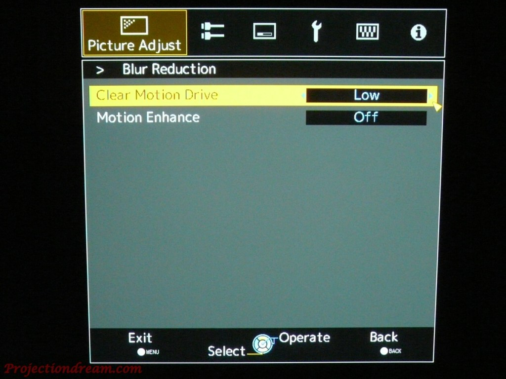 JVC DLA-X5000 Blur Reduction Menu