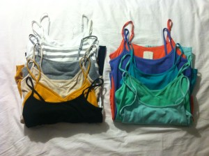 Tanks-<$5, Forever21 and Target.