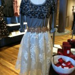 White Lace Skirt-$188. Leopard Pullover-$78. Flower Waist Belt-$21.