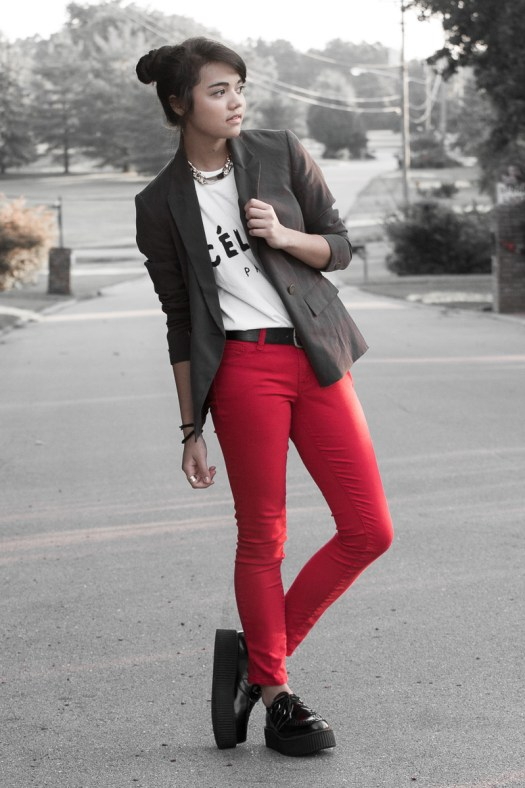 Celine Tee-$12.31, etsy.com. Blazer-$12, Forever21. Red Jeans-$8, Charlotte Russe.