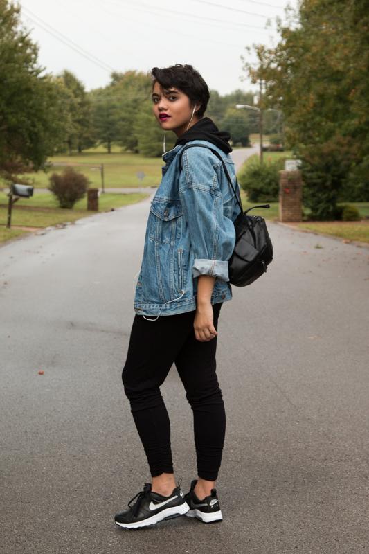 Cropped Hoodie--Target. Track Pants--F21. KORG Denim Jacket--Antique Store. Leather Backpack--Hand-me-down. Nike Air--Nordstrom Rack.