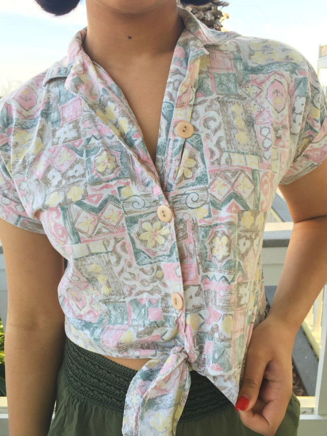 Cropped Button Down--Thrifted. Olive Palazzo Pants--???