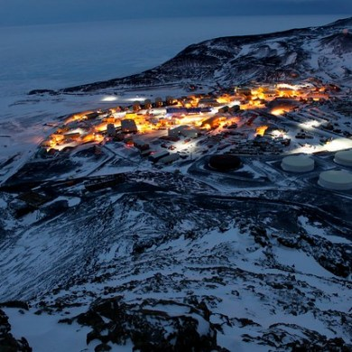 Photo of McMurdo Station at night in October 2010