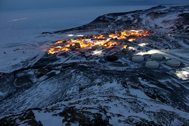 Photo of McMurdo Station at night in October 2010, complex project management on the AIMS project