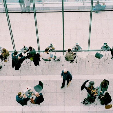 Aerial view of meetings in a coffee shop