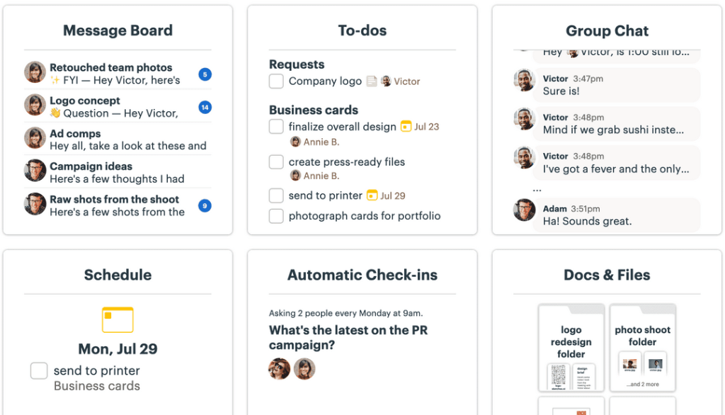 Screenshot of Basecamp project management software for architects