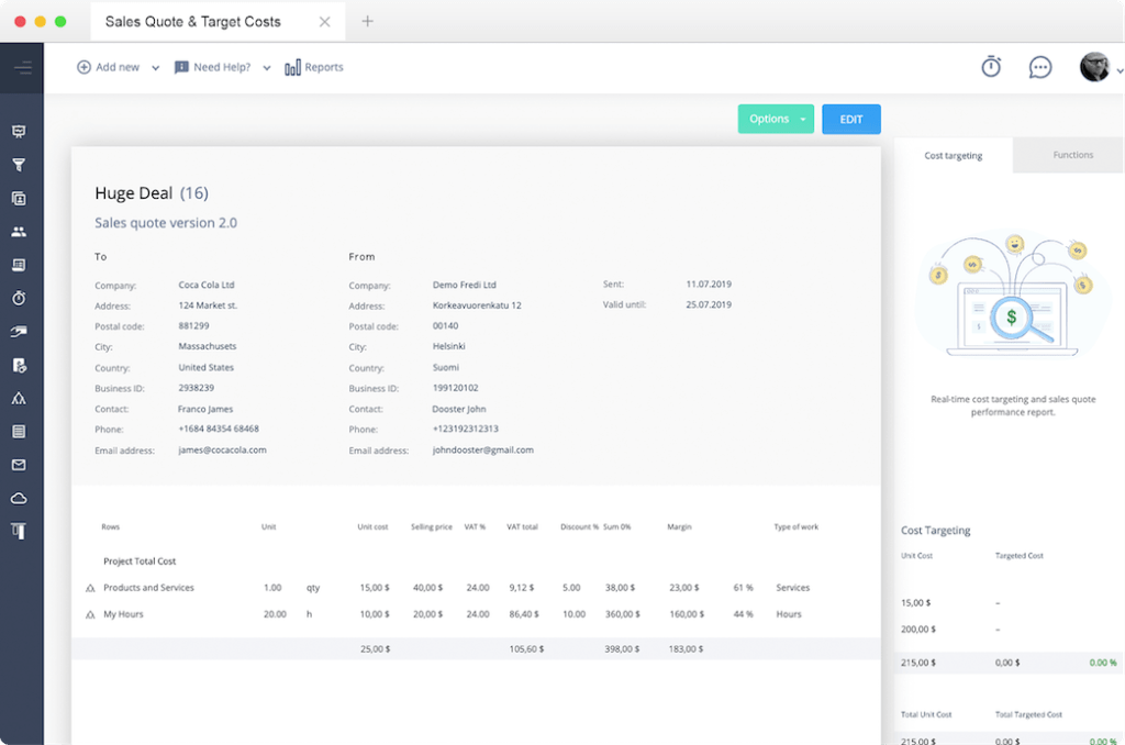 Screenshot of Manage sales quotes digitally