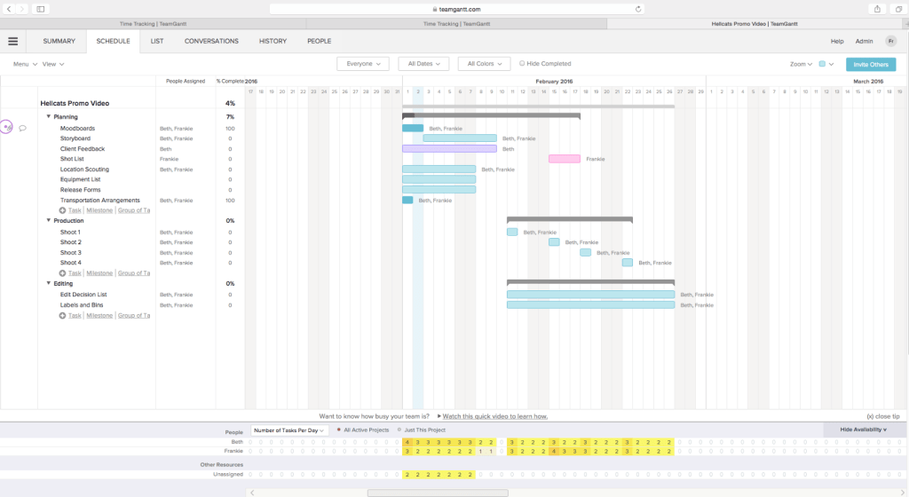 Screenshot of Teamgantt project management software for architects