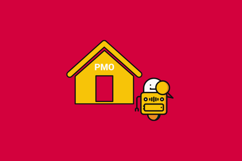 illustration of an AI next to a house that is labelled PMO