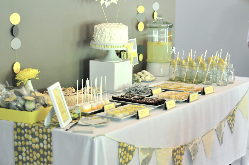 Yellow Gray And White Baby Shower