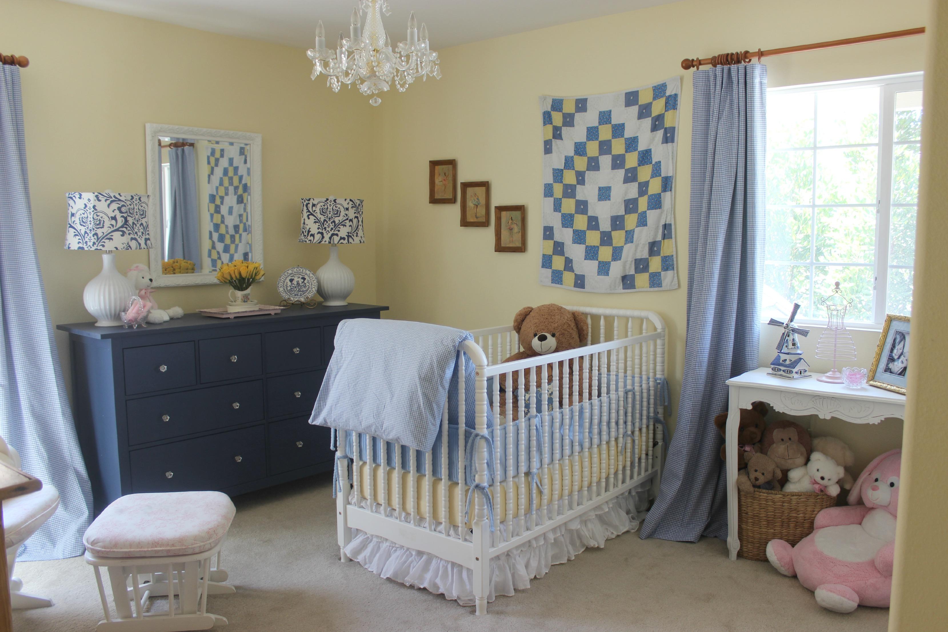 Blue, White & Yellow Girls Nursery