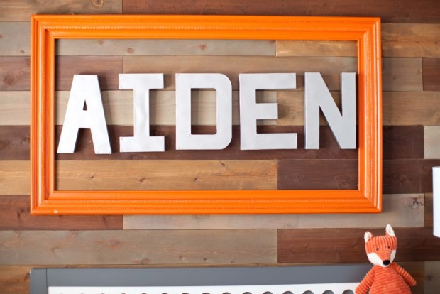 DIY Wall Decor Art Paper Mache Letters Framed Orange Silver Reclaimed Wood Accent Wall Fox Aiden Paneling Nursery