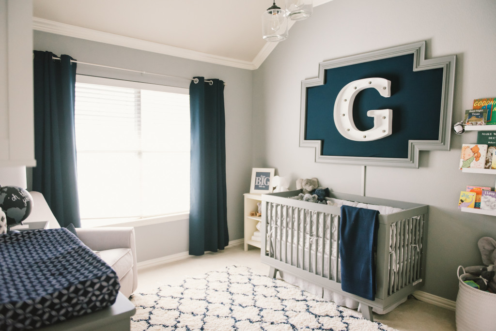 Graysons Modern Grey Navy And White Nursery Project