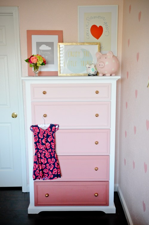 coral ombre painted dresser