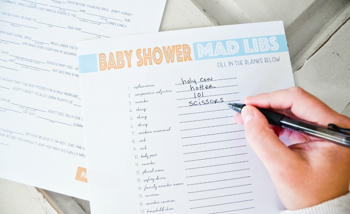 Free Printable Baby Shower Mad Libs