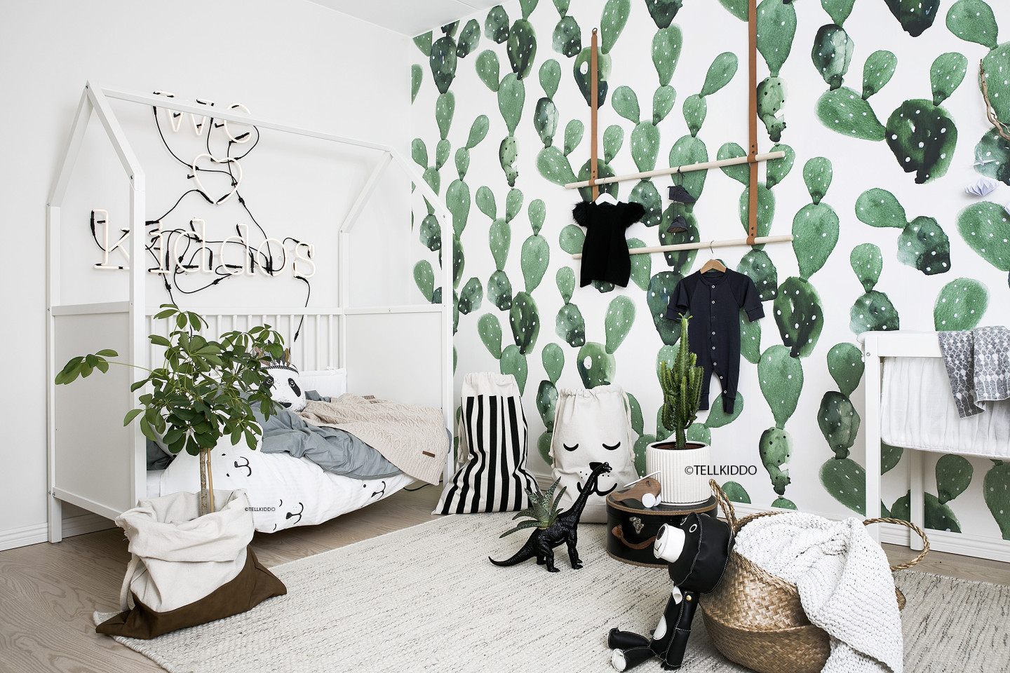 Tellkiddo Black and White Nursery featuring Cactus Wallpaper