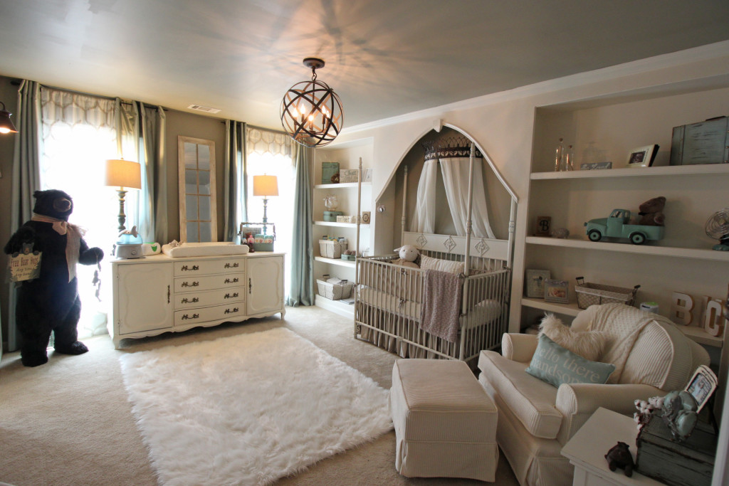 Whimsical Nursery with Vintage Dresser/Changing Table - Little Crown Interiors for Project Nursery