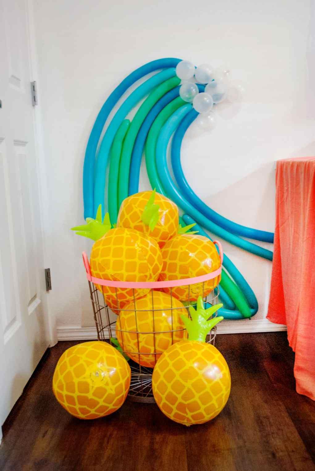 Balloon Wave Installation and Pineapple Beachballs